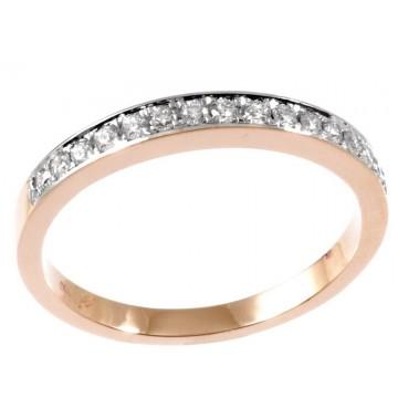 0,21ctw half eternity briljantsõrmus, punane kuld prooviga 750