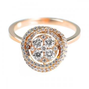 0,60ctw briljantsõrmus, punane kuld prooviga 750