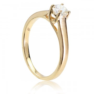 0,42ct Briljandiga solitaire-sõrmus, matt kollane kuld 750