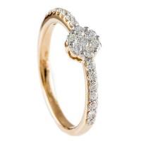 0,44ctw briljantsõrmus, Valge/Punane Kuld Prooviga 750