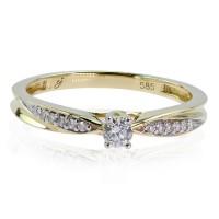 0,17ct Briljantsõrmus, kollane kuld prooviga 585