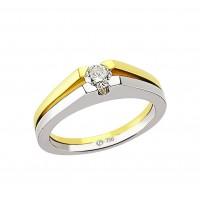 0,27ct briljandiga solitaire-sõrmus, valge/kollane kuld prooviga 750