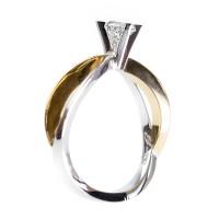 0,41ct  briljandiga solitaire-sõrmus, valge/kollane kuld prooviga 750