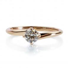 0,38ct Briljandiga solitaire-sõrmus, 750 roosa kuld