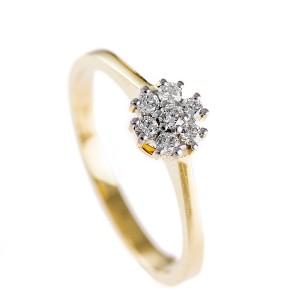 0,18ctw briljantsõrmus, kollane kuld prooviga 750