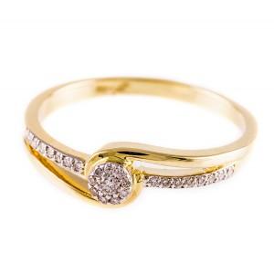 0,12ctw briljantsõrmus, kollane kuld prooviga 750