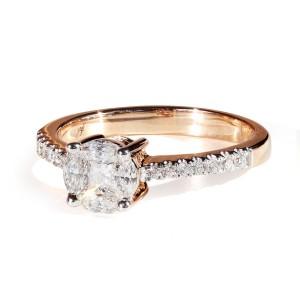 0,56ct Briljantsõrmus, roosa kuld prooviga 750