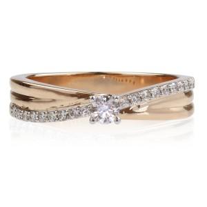 0,22ct Briljantsõrmus, roosa kuld prooviga 585