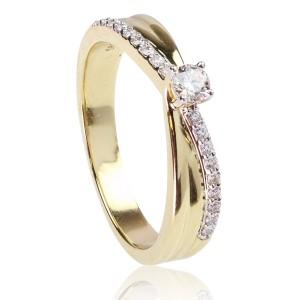 0,22ct Briljantsõrmus, kollane kuld 585