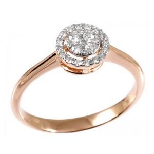 0,23ctw briljantsõrmus, punane kuld prooviga 750