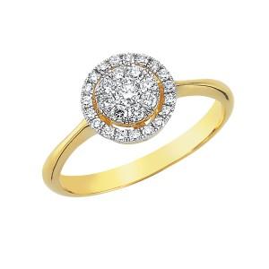 0,32ctw briljantsõrmus, kollane kuld prooviga 750