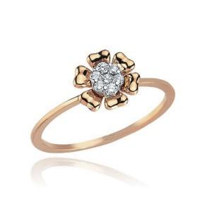 0,11ctw briljantidega sõrmus, valge/punane kuld prooviga 750