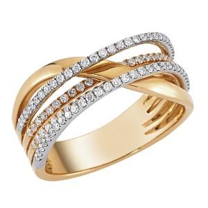 0,62ctw briljantsõrmus, valge/punane kuld prooviga 750