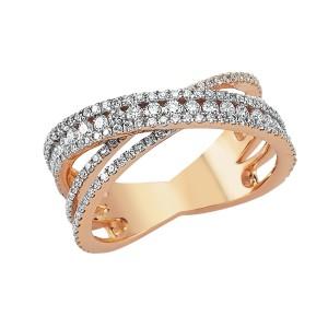 1,05ctw briljantsõrmus, punane kuld prooviga 750