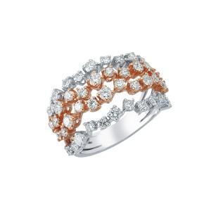1,90ctw briljantsõrmus, valge/punane kuld prooviga 750