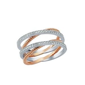 0,33ctw briljantsõrmus, valge/punane kuld prooviga 750
