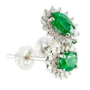Kõrvarõngad smaragdidega (0,84ctw) ja briljantidega (0,26ctw)