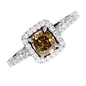 "1,19ct naturaalne ""fancy deep yellowish brown"" briljantsõrmus, valge kuld 585"