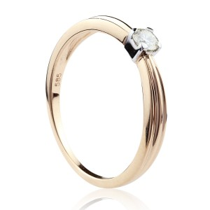 0,15ct Briljantsõrmus, 585 roosa kuld